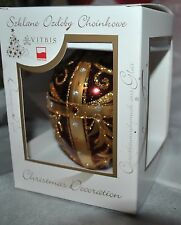 New VITBIS Mouth Blown Glass FABERGE EGG Ornament RUBIN/GOLD RUBY/Silver CRYSTAL