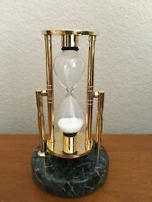 Revolving Hourglass / Sand Timer / Brass Plate - Glass - Marble