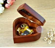 "Play ""Once Upon a December"" Wooden Heart Shape Music Box With Sankyo Movement"
