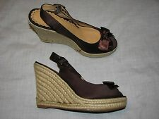 9 Narrow N Boutique Nordstrom Slingback Wedge Espadrille Peep Toe Brown Dark Bow