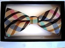 NEW Tuxedo PreTied Unisex Pastel Plaid Bow Brown Tan Green Pink Blue Bow Tie
