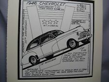 1946 Chevrolet Fleetmaster  Auto Pen Ink Hand Drawn  Poster Automotive Museum