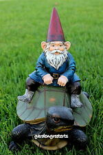 GARDEN STATUE GNOME ON TURTLE , GNOME ON TURTLE  FIGURINE
