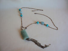 VINTAGE BLUE GREEN STONES AND CRYSTAL SILVER TONE NECKLACE