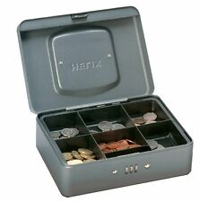 "HELIX 8"" COMBINATION LOCK CASH BOX - Petty Cash Tin, Money Box, Safe + Coin Tray"