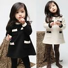Girls Kids Dress Top Skirt Long Sleeve Baby Party 1-Piece Cotton Clothes FT190