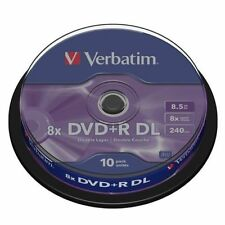 5 x VERBATIM DVD+R DUAL DOUBLE LAYER 8X 8.5gb IN SLEEVES 43666