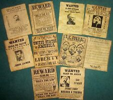 O.K. Corral Billy the Kid Wanted Posters Jesse James Black Bart Old West 10 Lot