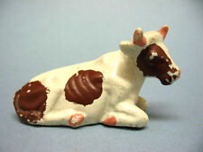 """Vintage 1950's Japan Miniature Pottery Reclining Holstein Cow  ~ 3 3/4"""" Long"""