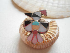Vintage Zuni Sterling Silver Inlaid Multi Stone Bird Ring   RE3911