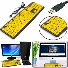 High Contrast UK Layout USB Wired Keyboard Large Print Numeric Keypad PC Laptop