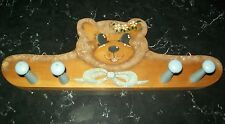 "16"" x5.5"" Hand Painted Blue Wooden Peg Teddy Bear Rack; Wall Mount; Jackets,Keys"