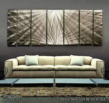 Large Modern Abstract Silver Metal Wall Art Decor Sculpture - Meteor Mirage