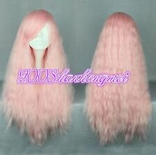 Gradient Rhapsody Long Curly Wavy Hair Cosplay Party Anime Wigs/ wig cap pink