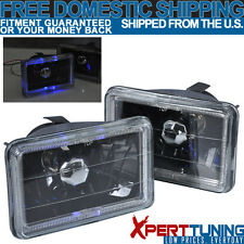 6x4 6 Inch x 4 Inch Black With Clear Lens Halo Headlights 84-89 Toyota Van