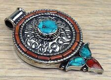 """Nepalese  Red Coral & Turquoise .925 Silver Jewelry Pendant""""Size-2.8""""J-03"""