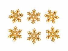 Vintage Gold M. Haskell Star Spike Snowflake Burst Drill 6 Stone Blank Findings
