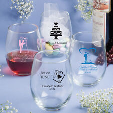 60 Personalized 15 Oz Stemless Wine Glass Wedding Party Event Favors For Guests