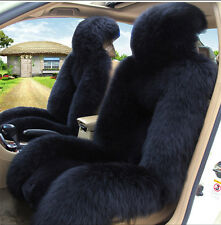 Black Premium Quality Australian Sheep Skin Car Long Wool Front Seat Cover