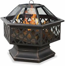 Hex Shaped Outdoor Fire Bowl with Lattice Spark Screen Oil Rubbed Bronze Camping