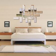 Acrylic 3D Rectangle Mirror Effect Mural Wall Sticker Decal Home Room Decor DG