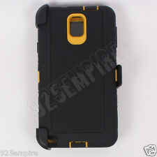 For Samsung Galaxy Note 3 Black/Yellow Case Cover(Clip Fits Otterbox Defender