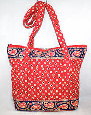 VERA BRADLEY Large Zipper Tote Long Strap in Americana Red