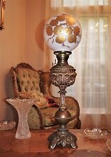 ANTIQUE BANQUET PARLORP GWTW OIL LAMP  1900's WITH GLASS SHADE
