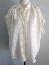 "DVF $198 Oversize WhiteTextured ""Karin"" Blouse--SZ P--EXCELLENT CONDITION!!!"
