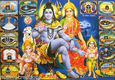 """Lord Shiva Family and Jyotirlingams in India Hindu God Poster 21""""X 31""""(LM6970)"""