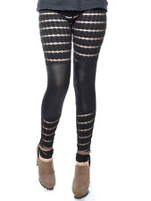 Anna-Kaci Free Size Black Geometric Alternative Partial Lace Hip Hop Leggings
