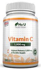 Vitamina C 1000mg Nu U Alto Tenore 180 alto tenore compresse 100% Garanzia