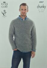 KNITTING PATTERN Mens/Boys Long Sleeve Round Neck Jumper Chunky King Cole 4087