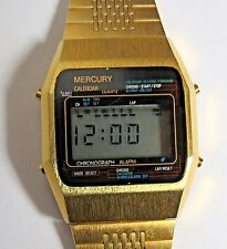 VINTAGE MERCURY CALENDAR ALARM CHRONO MENS DIGITAL WATCH GOLD TONE RUNS
