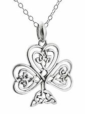 Celtic Clover Tree of Life Necklace - 925 Sterling Silver - Trinity Shamrock NEW