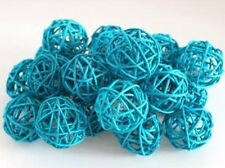Turquoise Blue Wicker Cane Rattan LED Party 20 x 5cm Balls 2mtr battery power