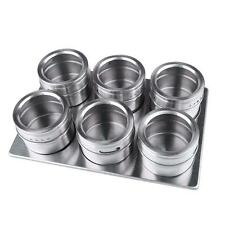6 PCS  Magnetic Herb Spice Rack Tin Jar With Holder Stand Stainless Steel Magnet