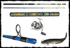 KIT CANNA ANACONDA MULINELLO DOMINO 5000 PESCA SILURO BREAK FONDO BOA STORIONE
