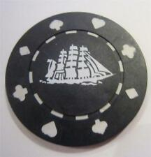 Cutty Sark Clay Composite Vintage Poker Chip Set 10 Clipper Ship BLACK New cond