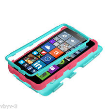 For Microsoft LUMIA 640 Hybrid Protective Dual Layer Hard Case Cover TEAL PINK