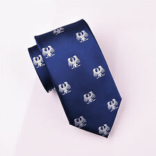 White German Eagle Phoenix Blue Tie 8cm Necktie Novelty Bird Luxury Fashion Boss
