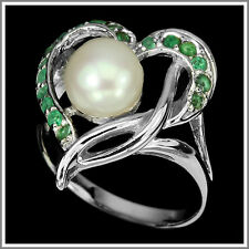 ELEGANT NATURAL CREAMY WHITE PEARL-GREEN EMERALD STERLING 925 SILVER RING SIZE 8