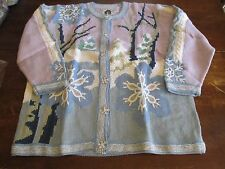 Collectible HSN Storybook Knits Cardigan Sweater 1xl xl 1x snow flake winter