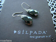 """Silpada Sterling Silver Hematite """"Ebony"""" Earrings W3144 New!"""