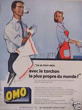 PUBLICITÉ 1958 LESSIVE OMO ÇA VA TOUT SEUL - COURONNE - ADVERTISING