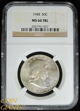 1948 Franklin Half Dollar NGC MS66 FBL Full Bell Lines Toned GEM BU Uncirculated