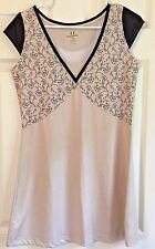 DIADORA DIA-DRY Tennis Dress Tan w/Brown Accents and Flowers Cap Sleeve Size M