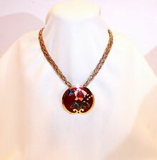 "NECKLACE SIGNED"" SITI ""SLIDE RED CLOISSONE FLORAL PENDANT GOLD TONE #151"