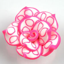 150pcs 25mm Pink&White Lotus FIMO Polymer Clay Spacer Beads Fit DIY Carfts L