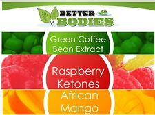 30 RASPBERRY KETONES & 30 GREEN COFFEE BEAN & 30 AFRICAN MANGO DIET WEIGHT LOSS
